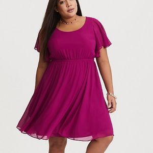 Torrid Short Sleeve Fit-n-Flare Dress Fuchsia